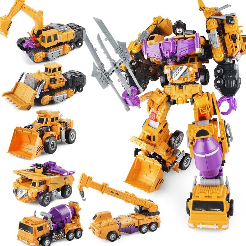 Juguete de transformación King Kong 6 en 1 camión de ingeniería Gt Hércules excavadora camión excavadora figura de acción Robot modelo regalo para niños