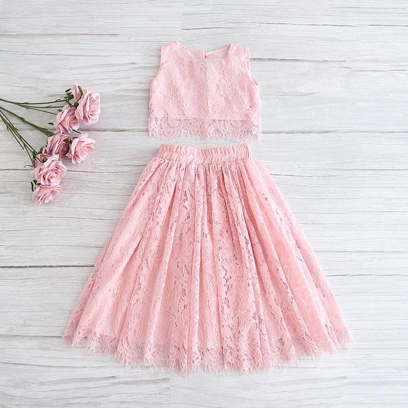 2020 primavera verão conjunto de roupas para meninas meia manga rendas topo + champanhe rosa saia longa crianças roupas 2-11 t e17121