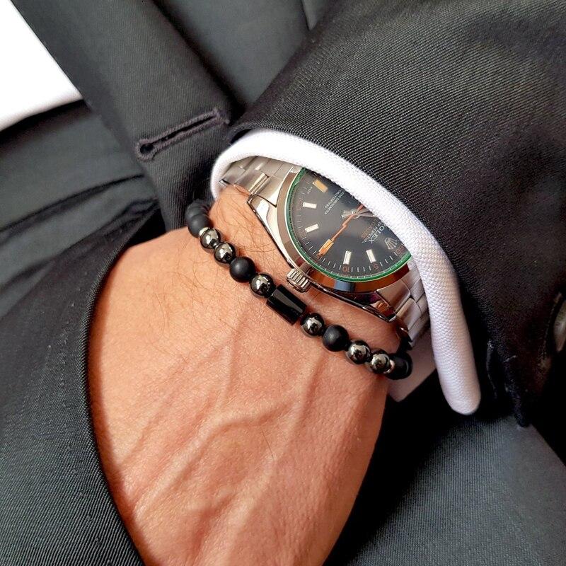 2020 nova moda pulseira masculina simples luxo coluna geométrica 6mm fosco ônix pedra grânulo pulseiras artesanais para jóias masculinas