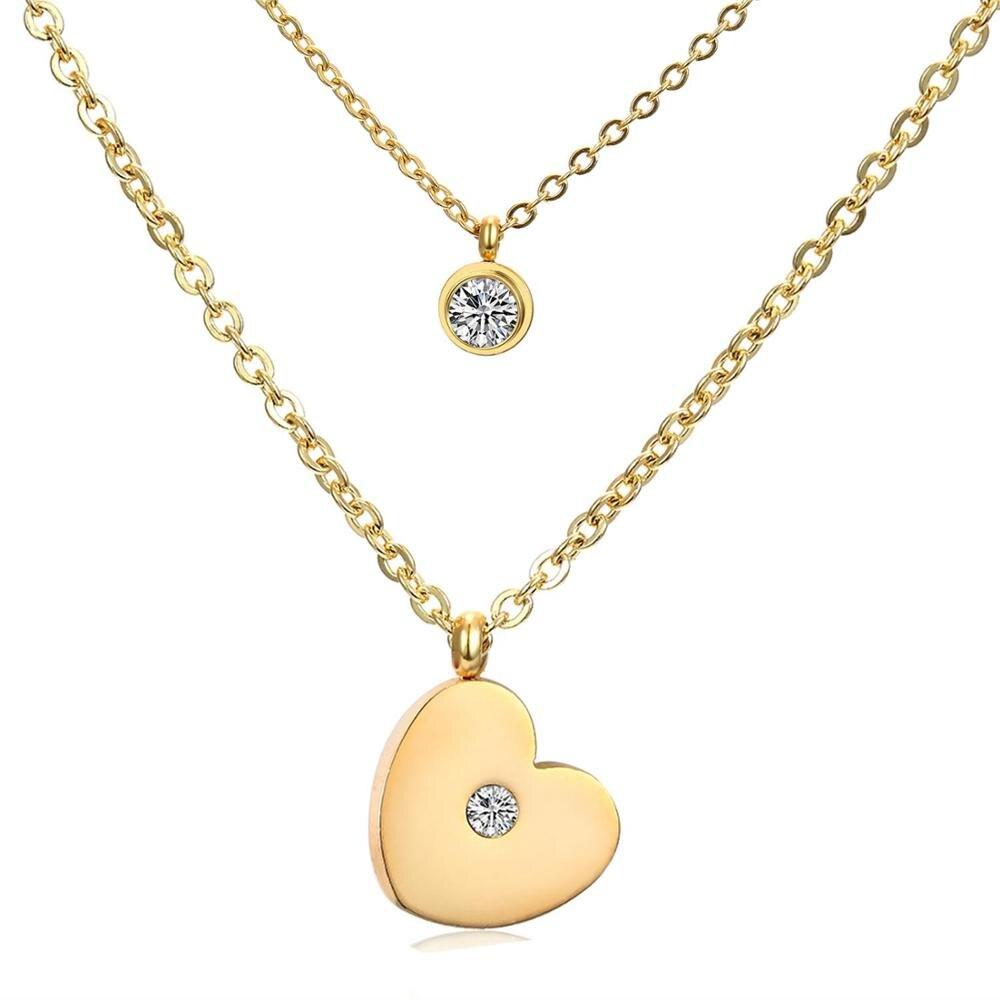 Collar LUXUKISSKIDS de acero inoxidable 2020, colgante de corazón de amor, cadena doble, collar de oro para mujer, collar