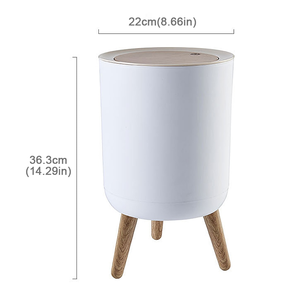 Creative Imitation wood Trash Can with Lid Press Bucket Garbage Rubbish Bin High Foot Waste Container Organizer Bathroom Kitchen enlarge