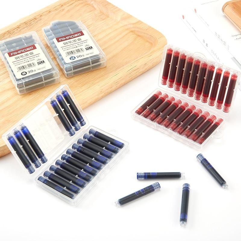 Fountain Pen Refill Ink 20pcs/set Black Erasable Blue/dark-blue Ink Cartridge with Case School Office Supplies 3.4mm Diameter