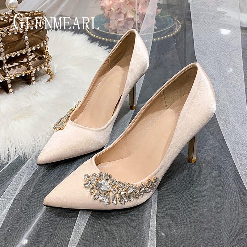 Mulheres de luxo sapatos de casamento salto alto strass mulher de seda bombas dedo do pé apontado marca sapatos festa salto alto plus size nova chegada 2020