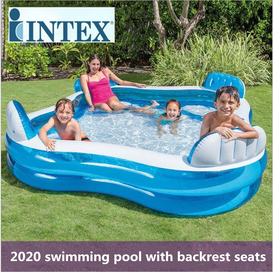INTEX piscina inflavel adulto children's home swimming pool transparent thickened baby family adult paddling bath With backrest