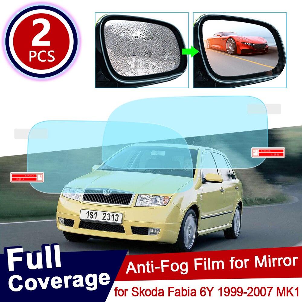Para Skoda Fabia 6Y 1999 ~ 2007 mk12pzs, espejo retrovisor para coche, impermeable y película anti-Niebla, accesorios para automóviles 2002 2003 2004 2005