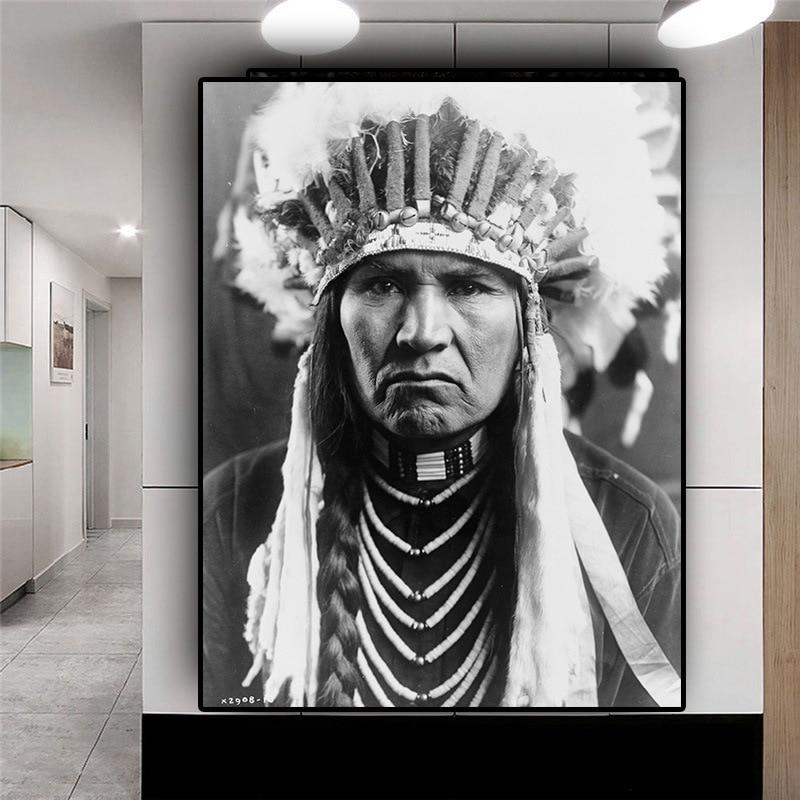 Pintura sobre lienzo de chieftain, jefe de una tribu, impresiones artísticas para colgar en pared, cuadro decorativo para decoración del hogar