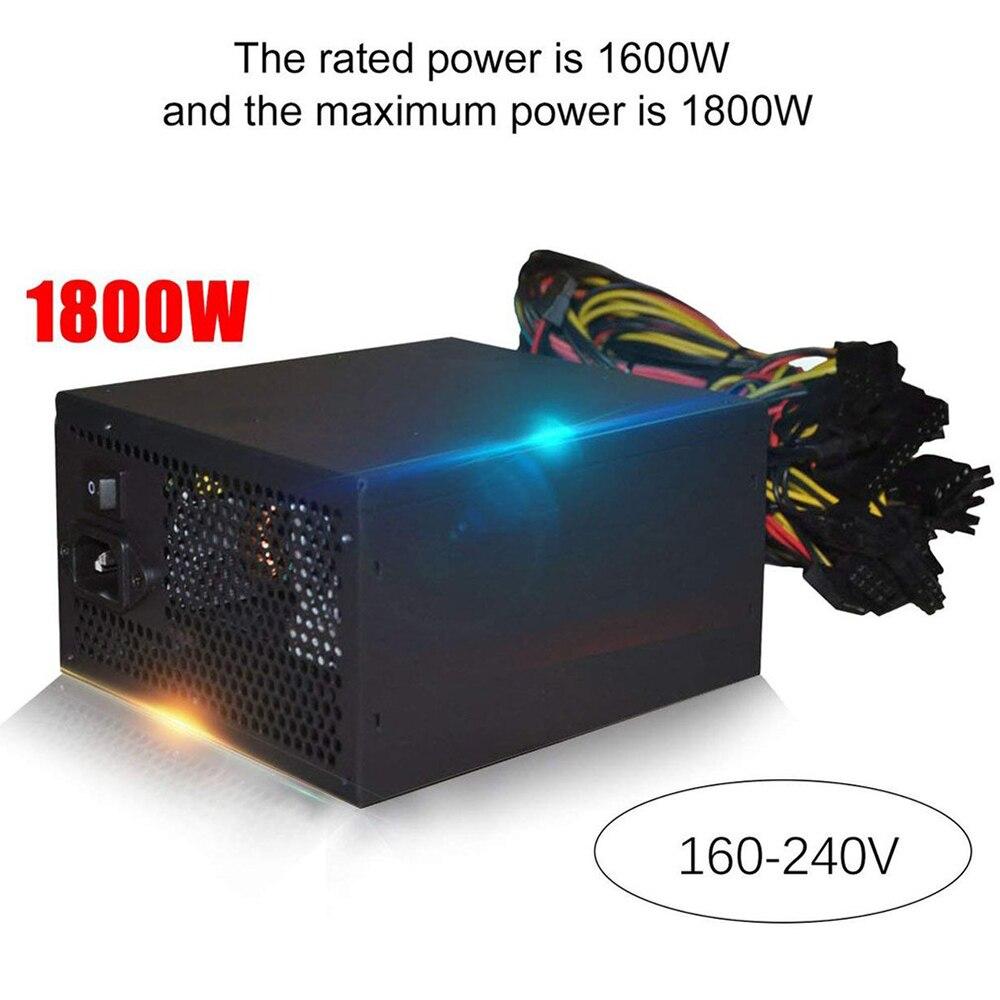 1800 واط 180-260 فولت ATX التعدين بيتكوين امدادات الطاقة 95% عالية الكفاءة ل Ethereum ETH S9 S7 L3 8GPU بطاقات دعم ماكس