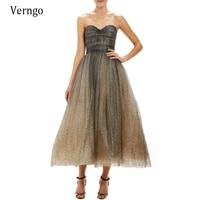 verngo strapless glitter mixed color a line formal evening dresses tea length lady formal party gowns homecoming dresses