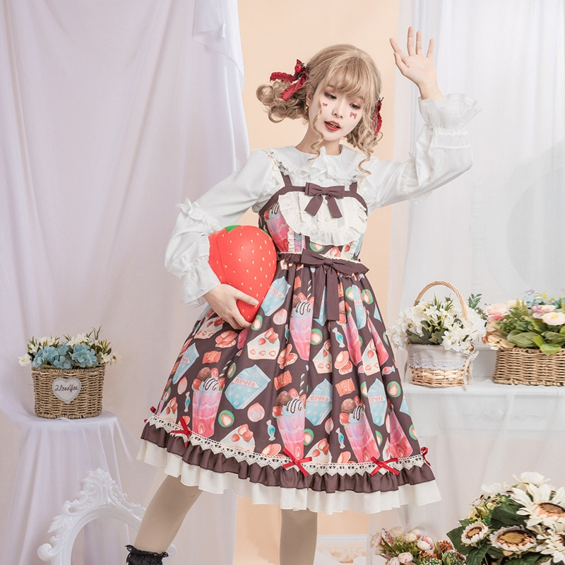 Original new Lolita cute jsk strap Lolita dress jsk lolita cute lolita costume high collar dress lovely print lolita jsk coffee