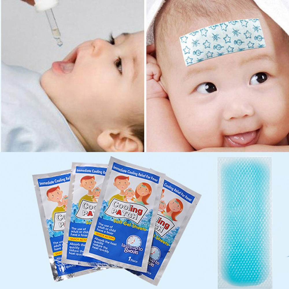 5bags Cooling Patches Baby Fever Down Plaster Migraine Headache Pad Lower Temperature Ice Gel Polymer Hydrogel new baby head massage smart physical fever cooling brain eye refreshment apparatus help normal body temperature tool