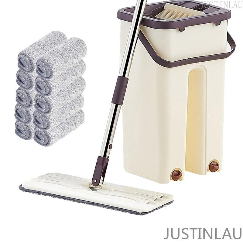 Selbst Reinigung Faul Mopp Flache Squeeze Mop und Eimer Hand-Freies Auswringen Boden Reinigung Mopp Nass oder Trocken Nutzung automatische Spin