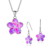 2020 fashion flower jewelry set wedding engagement jewelry necklace with earrings for women accessories gift