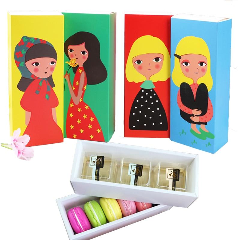 Bonita caja para envolver tartas de macarrón, bonita caja de regalo para niña, para decoración de galletas, tarta de Chocolate, de golosinas, caja de papel, caja de embalaje para comida y hornear