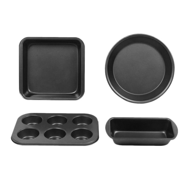 Conjunto de bakeware antiaderente, 4 pces bakeware incluem bandeja de brinde, bandeja de bolo quadrado, bandeja de pizza redonda de 8 polegadas, bandeja de muffin de 6 copos