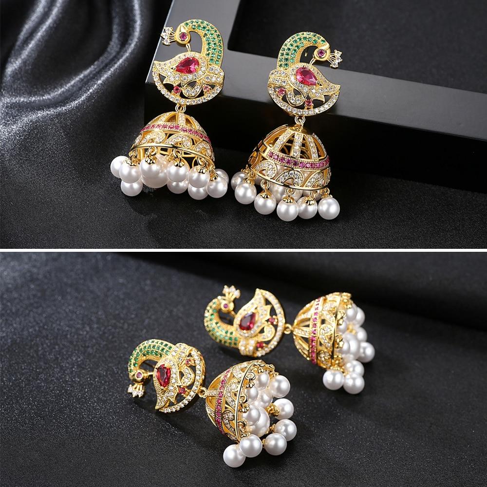 Jhumka Jhumki-أقراط زركونيا ملونة على الطراز الهندي للنساء ، مجوهرات زركونيا مكعبة