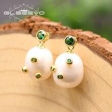 GLSEEVO-boucles doreilles pour femmes, bijoux fins faits à la main, en argent Sterling 925, en perles blanches deau douce, pour amoureux, GE0892A