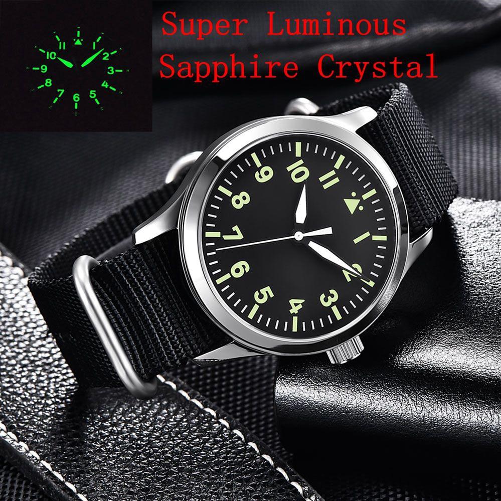 Japan Miyota Automatic Military Men Watch Luxury Brand Sport Design Male Clock Sapphire Luminous Leather Mechanical Wrist Watch