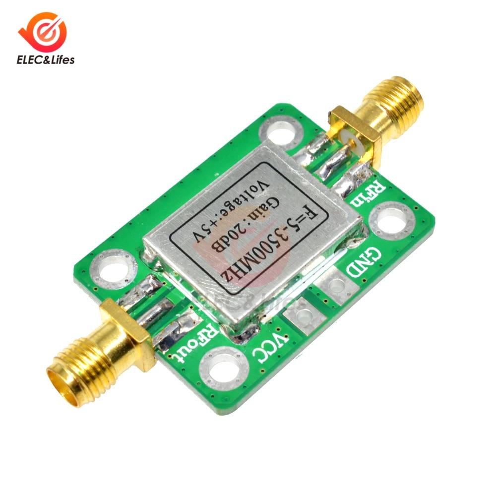 LAN 5-3500MHz 20dB ganancia RF Banda ancha amplificador placa módulo bajo ruido amplificador receptor RF con blindaje 3,3-6 V
