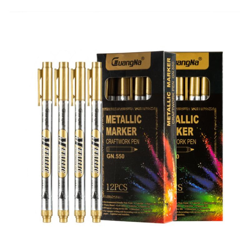 12PCS Silver/ Gold Metallic Marker Pen diy Photo Album Scrapbooking Crafts Watery Art Markers For Card Making