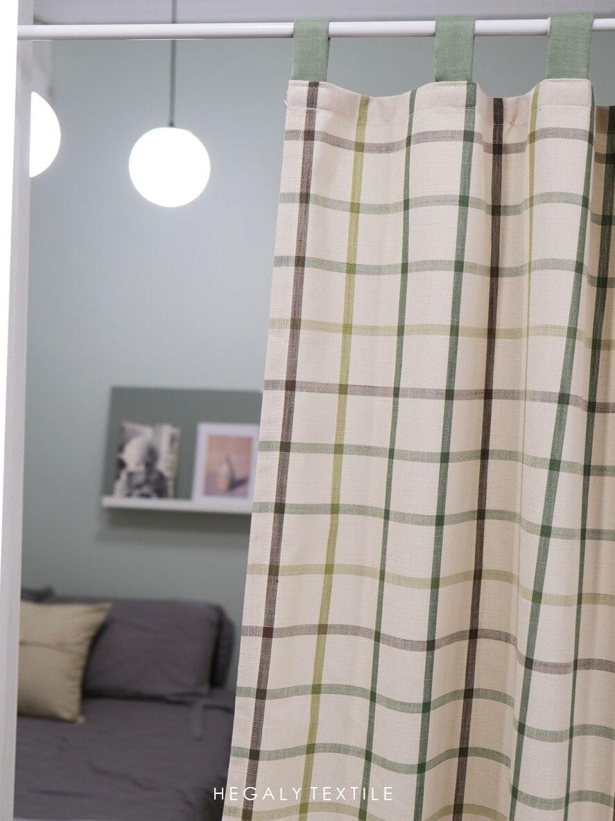 ستائر كورية بسيطة نقطة مموجة قطن قنب ستارة تظليل لغرفة المعيشة وغرفة النوم ستائر مقسمة ديكور منزلي تول دش