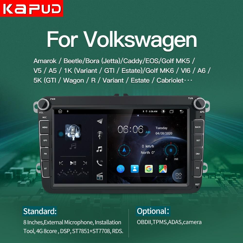 Kapud-راديو السيارة ومشغل الوسائط المتعددة ، 8 بوصات ، Android 10 ، لـ VW/Volkswagen Skoda ، Seat ، Octavia ، Golf ، Touran ، Passat B6 ، Polo ، LADA