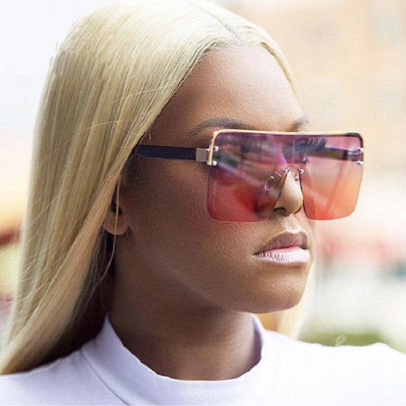 Semi Rimless Eyeglasses Luxury Sunglasses 2020 Oversize Shades Women Men Sun Glasses Fashion Gafas V