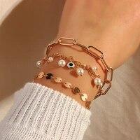 chenfan european and american new popular fashion multi element chain bracelet personality pearl devils eye bracelet for women