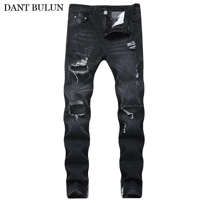 Mens Ripped Distressed Destroyed Hip Hop Trousers Stretchy Denim Pants Slim Skinny Jeans Straight Men Destroyed Denim Trousers five pockets destroyed skinny jeans