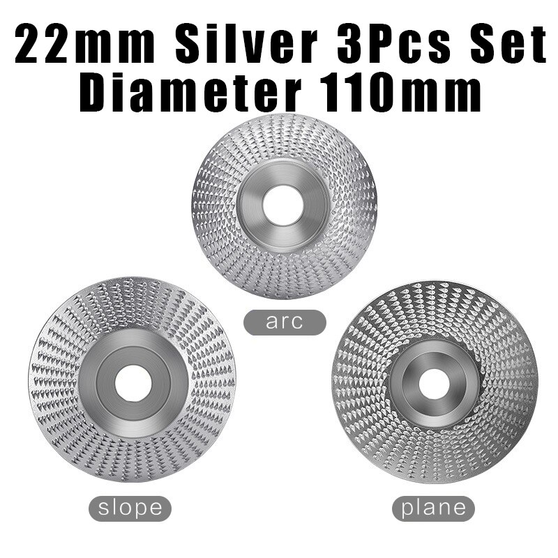 22mm Bore 3pcs Set Wood Grinding Polishing Wheel Rotary Disc Sanding Wood Carving Tool Abrasive Disc Tool for Angle Grinder 125