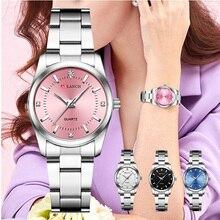 Vrouwen Roze Armband Horloge Luxe Merk Kleine Dames Casual Zilver Stalen Band Quartz Jurk Horloges Diamant Waterdichte Klok