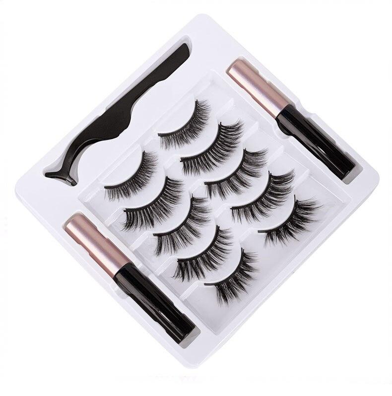Natural 5 Pairs Magnet fake lashes set with magnetic liquid eyeliner + tweezer reusable handmade false eyelashes 120sets/lot DHL