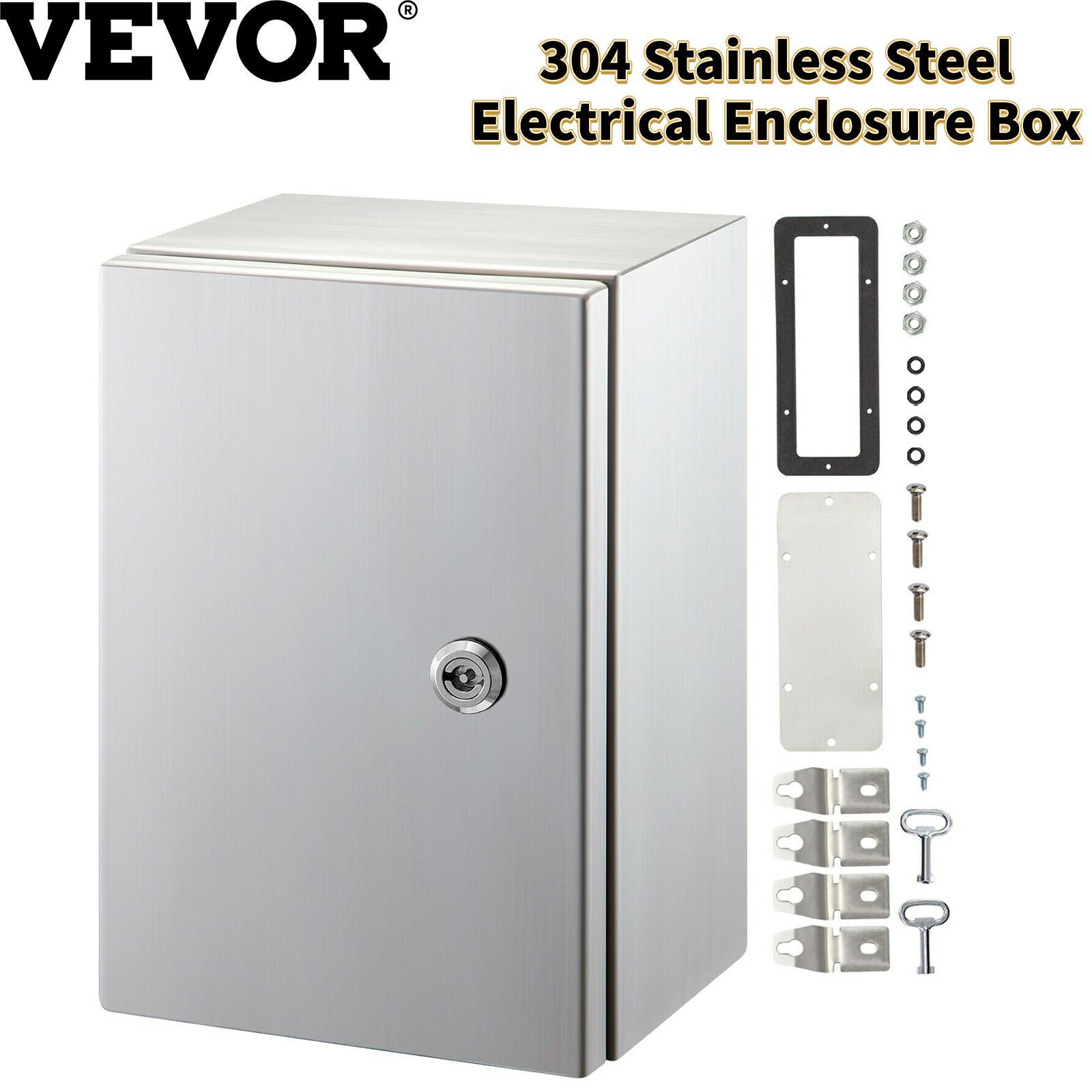 VEVOR صندوق الضميمة الكهربائية 304 الفولاذ المقاوم للصدأ سميكة قفل الغبار IP65 مقاوم للماء لحماية الدوائر الداخلية والخارجية