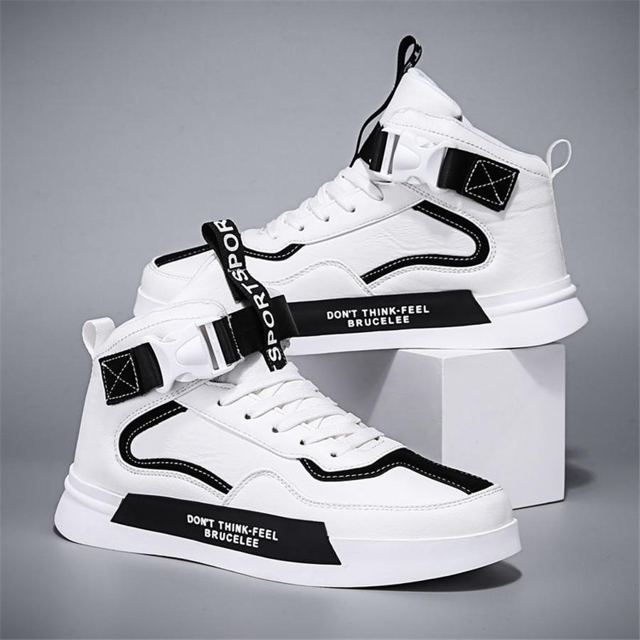 Кроссовки мужские кожаные, высокие туфли, Месси, плоская подошва, скейтборд, модная повседневная удобная обувь, белые