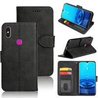 mks for leagoo m13 case soft silicone back flip leather wallet cover with id card slot
