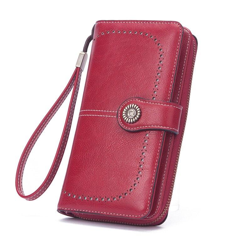 Модные женские длинные кошельки, винтажные женские сумки с несколькими отделениями для карт, Кожаные Кошельки для монет для женщин, карман ...