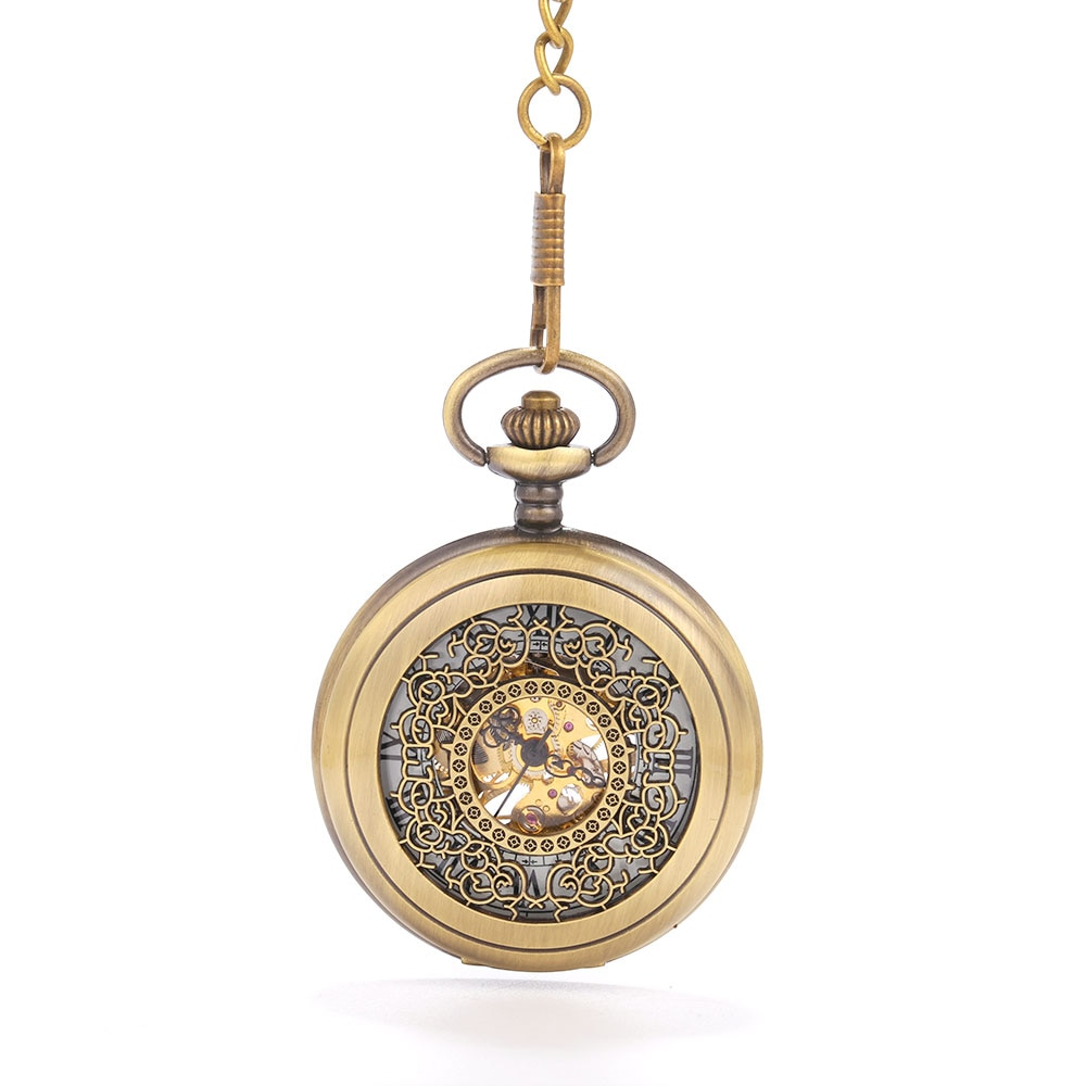 Reloj de bolsillo mecánico de corte de cobre tallado hueco grande tendencia personalidad regalo creativo valor exquisito flip