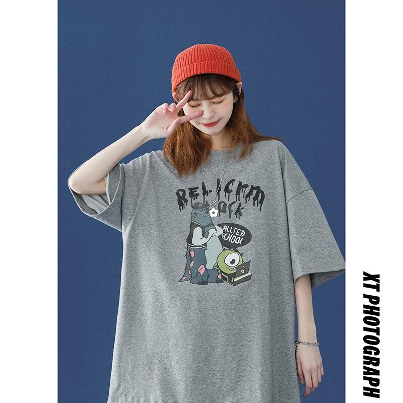 oversized T-shirt Women Casual 100% Cotton Short Sleeve Unisex O-Neck Tshirt Fashion Fun Print Haraj