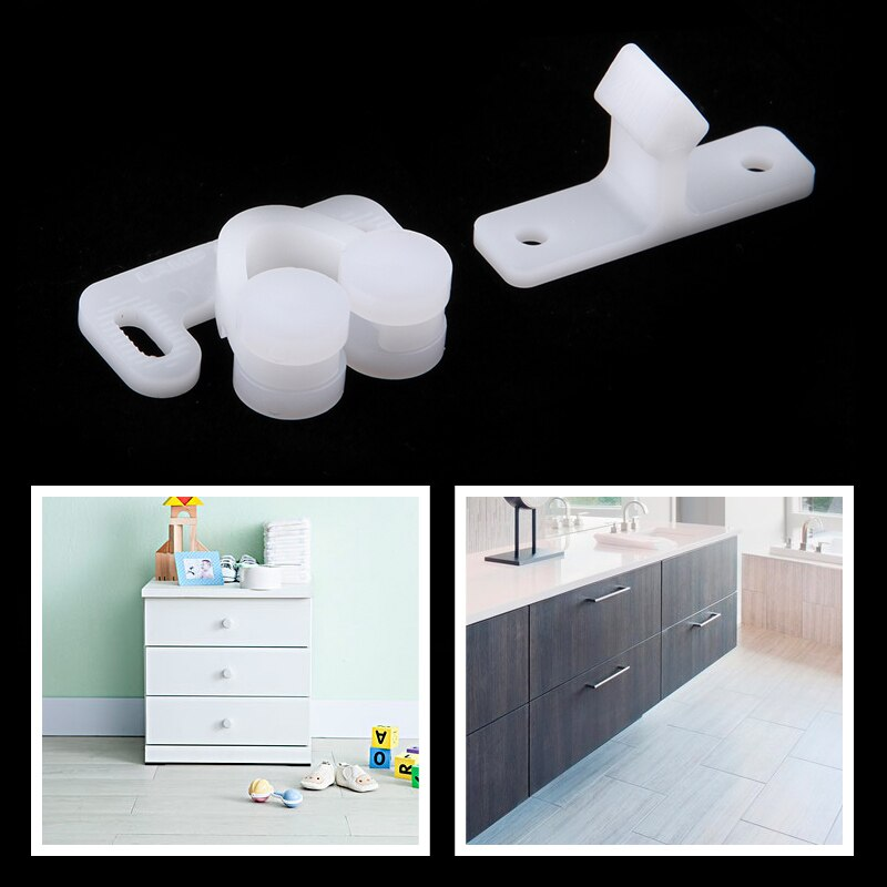 3 Set Door Roller Latch Catch White ABS Plastic Roller Catch Cabinet Door Drawer Ball Latch For Caravan RV Motorhome Etc