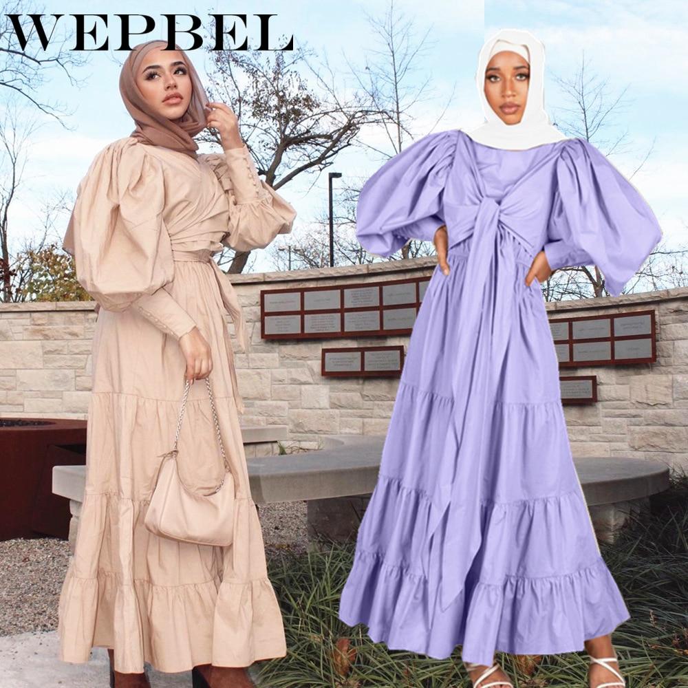 WEPBEL-vestido holgado informal de Color liso para mujer, bata holgada con encaje...