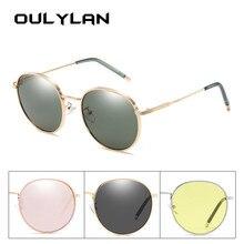 Oulylan Luxus Runde Sonnenbrille Frauen Männer Vintage Marke Metall Sonnenbrille Brille Retro Fahren Gläser Damen Grau Rosa Silber