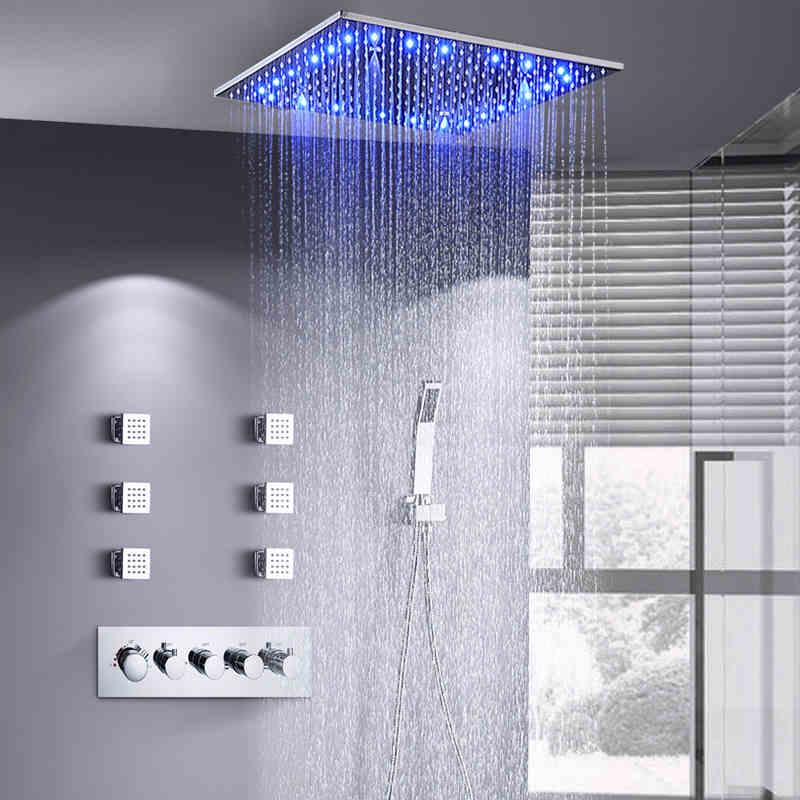 مجموعة صنبور دش الحمام ، نمط التدليك الثرموستاتي المخفي ، مربع LED من النحاس والكروم