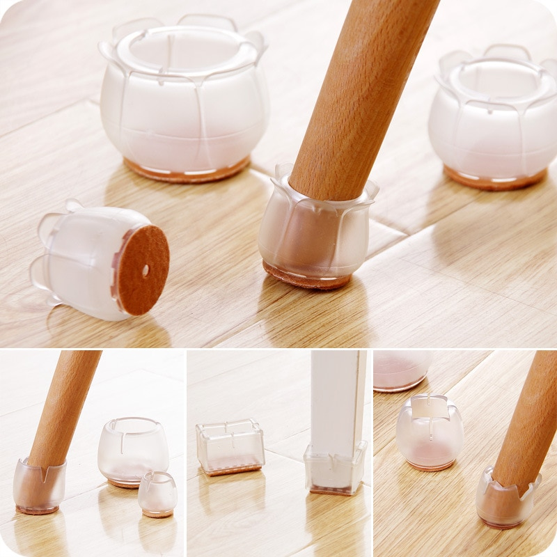 10pcs Non-Slip Mat Table Foot Mat Thickened Table And Chair Foot Cover Transparent Table Leg Protector Chair Leg Protector