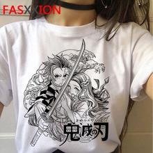 Demon Slayer T-Shirt Vrouwen Grafische Top Tees Kimetsu Geen Yaiba t shirt Japanse Anime Tshirt Harajuku Punk vrouwelijke plus size print