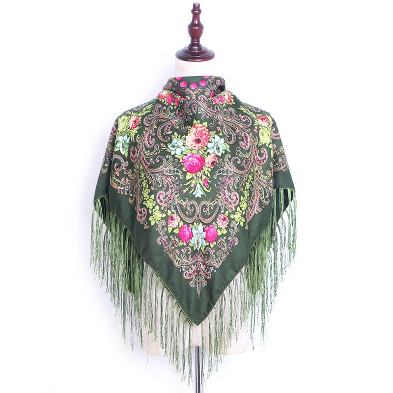 90*90cm Rusia marca diseñador pañuelo para la cabeza LongTassel bufanda flores bufandas manta chal pañuelo para mujer