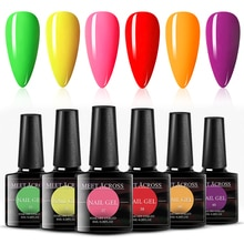 MEET ACROSS 6 Pcs Fluorescence Color Gel Nail Polish Summer Series Soak Off Gel Neon UV LED Nail Art