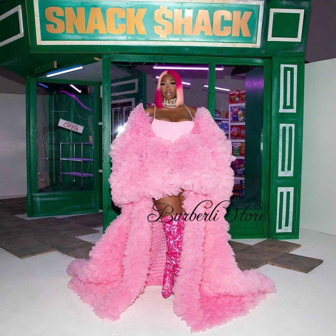 Unique Pink Ruffles Tiered Tulle Long Jacket For Women Lush Full Sleeves Draped Mesh Tulle Women Fluffy Outfit
