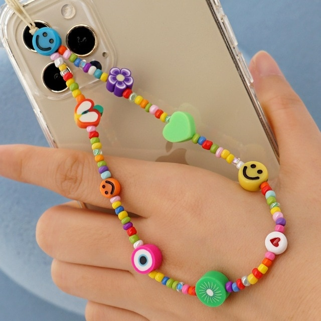 2021 New Popular Fashion Fruit Love Demon Eyes Mobile Phone Chain Soft Pottery Smiley Face Women's Anti-Lost Pendant Jewelry