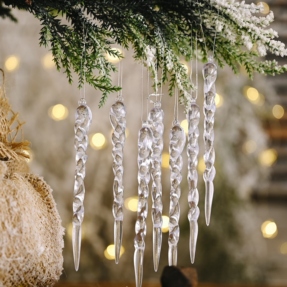 Adornos navideños para el hogar simulación de hielo árbol de Navidad adorno colgante carámbano falso Prop decoraciones para árboles de Navidad Natal Año Nuevo