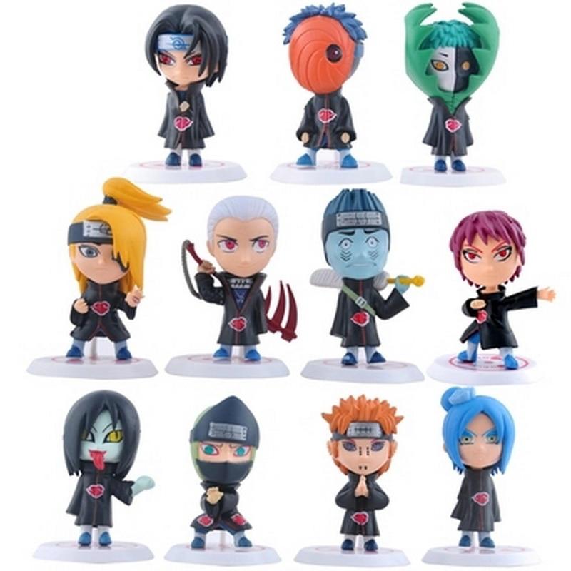 New hot 11pcs/set figure birthday gift kids dolls japanese anime naruto akatsuki 2.6 narfigura toys action model