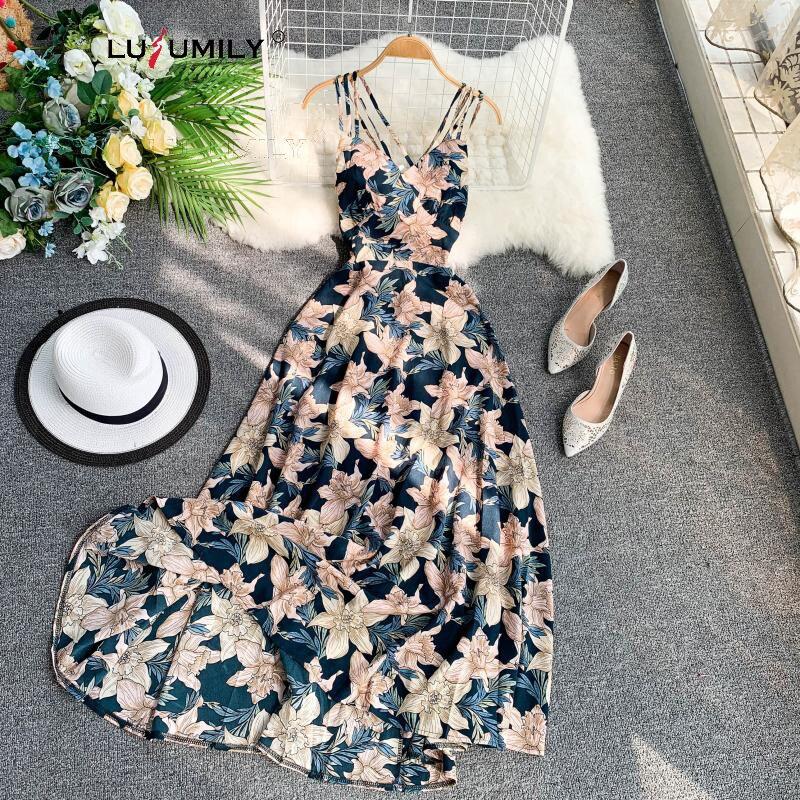 Lusumily verão sexy vestido sem costas vestidos de praia das mulheres cintura cinta magro menina vestido impresso novos estilos resort mujer vestidos